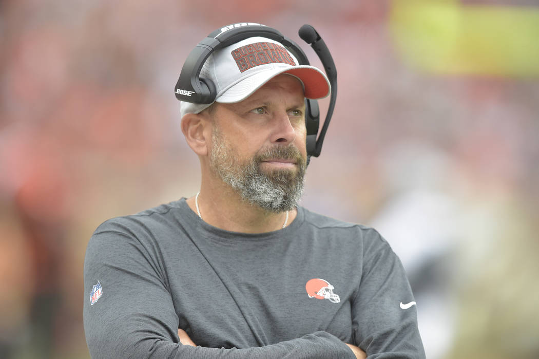 Cleveland Browns offensive coordinator Todd Haley stands on the field during an NFL football ga ...
