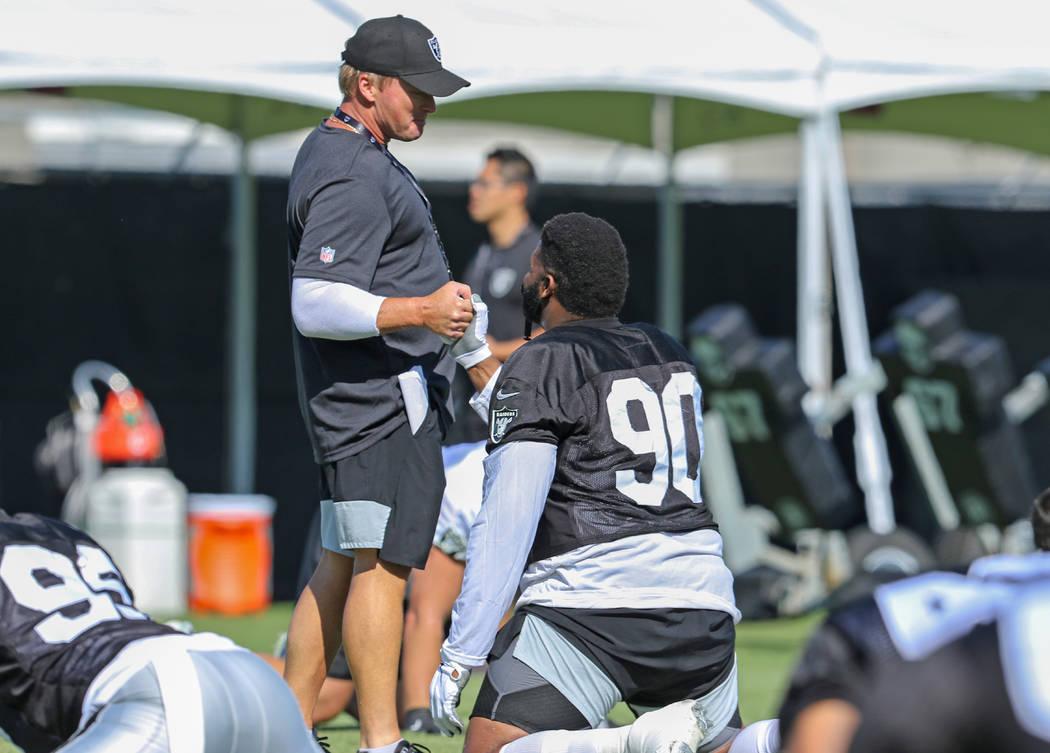 Oakland Raiders head coach Jon Gruden shakes hands with defensive tackle Johnathan Hankins (90) ...
