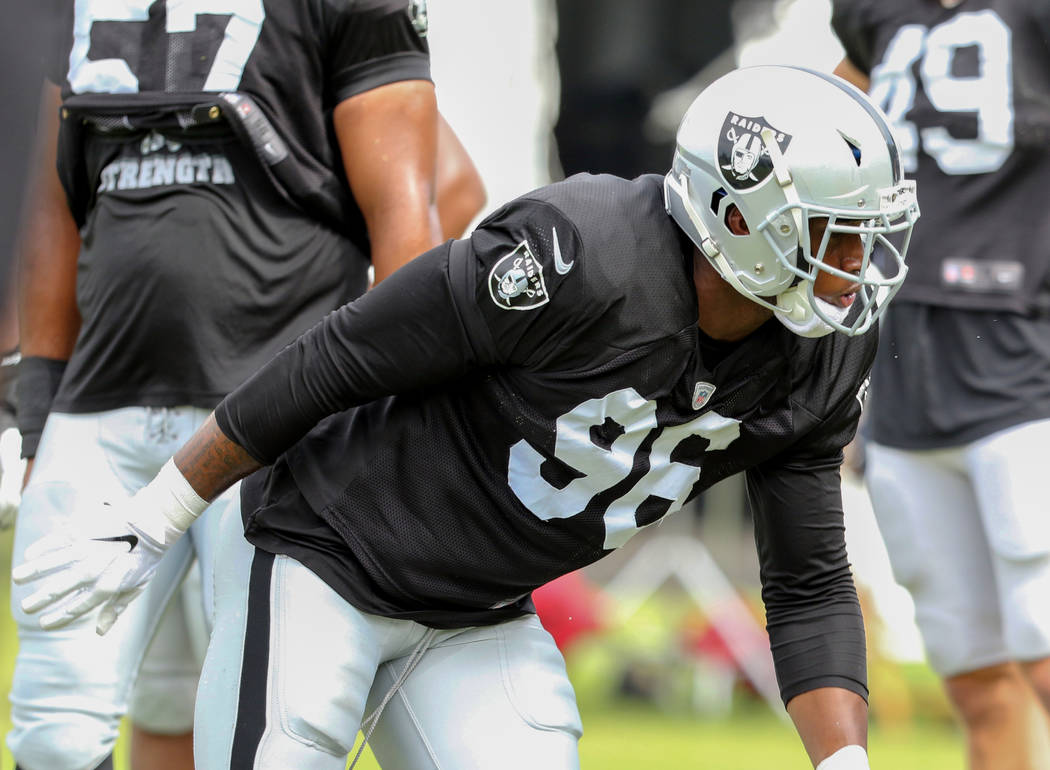 Oakland Raiders defensive end Clelin Ferrell (96) gets ready to drill during the NFL team's tra ...