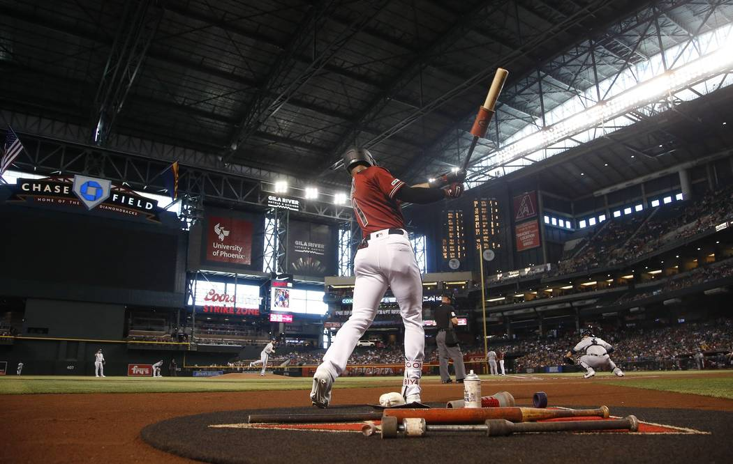 Arizona Diamondbacks' Jarrod Dyson waits to bat against the Milwaukee Brewers during the first ...