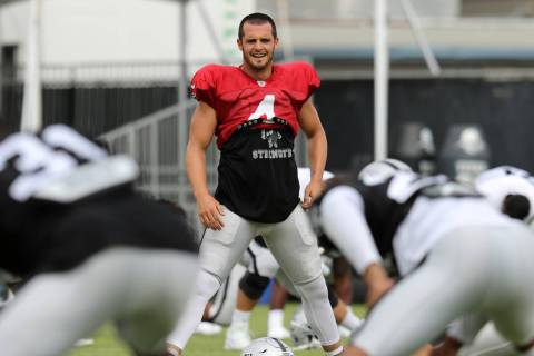 Oakland Raiders quarterback Derek Carr (4) stretches during the NFL team's training camp in Nap ...