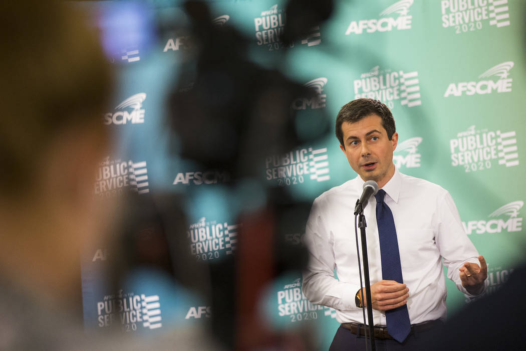 Mayor Pete Buttigieg, of South Bend, Ind., answers questions after speaking at a public forum f ...