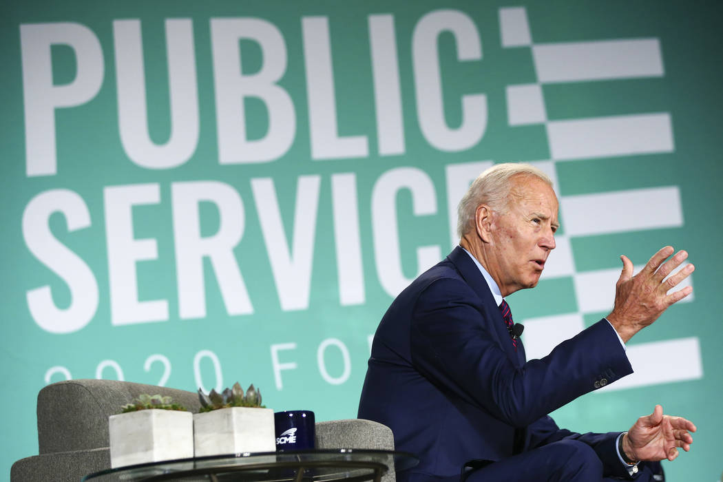 Former Vice President Joe Biden speaks during a public forum for Democratic presidential candid ...