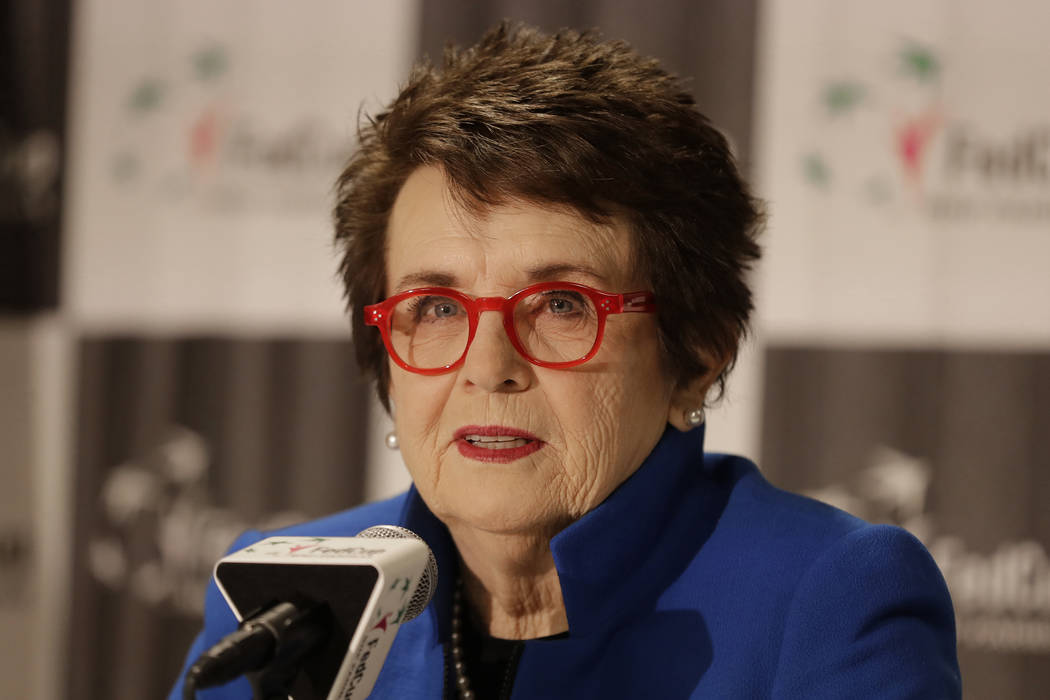 Tennis great Billie Jean King speaks to the media before the first-round Fed Cup tennis matches ...