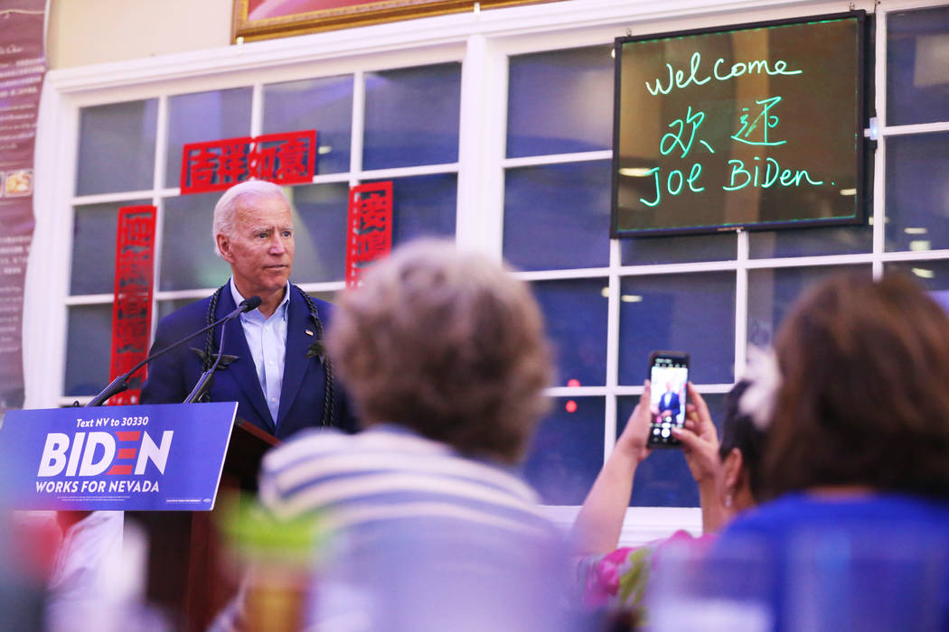 Democratic presidential candidate former Vice President Joe Biden speaks during a campaign rall ...