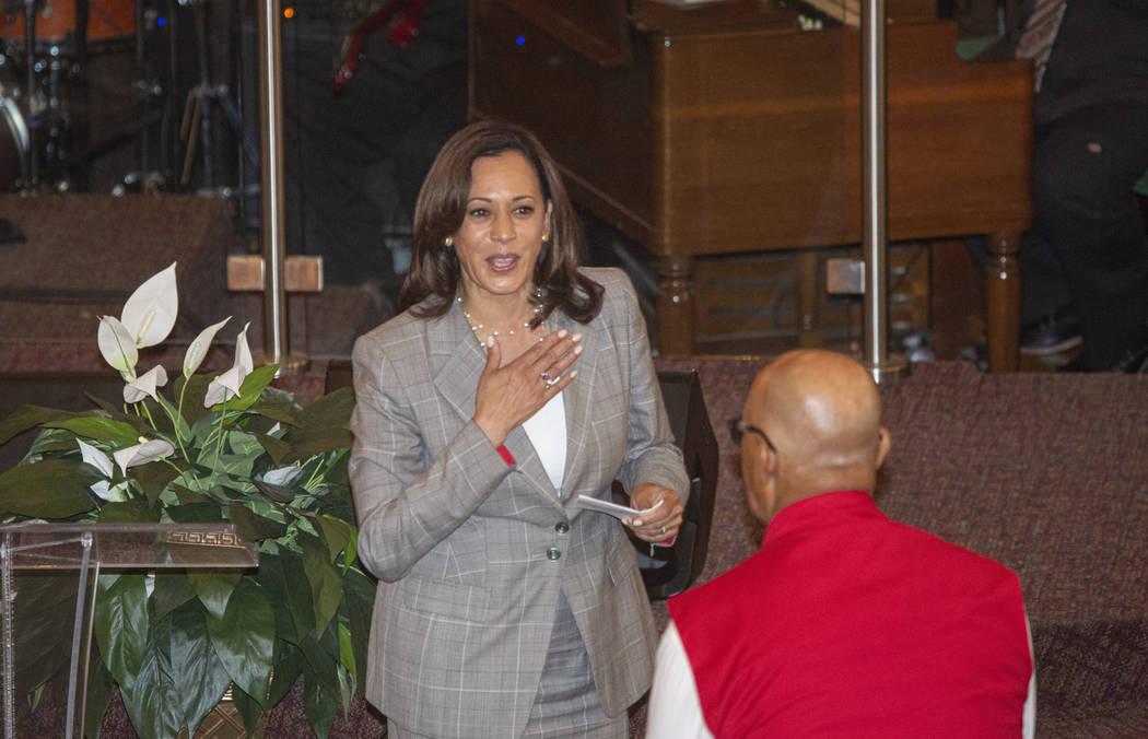 Democratic presidential candidate Sen. Kamala Harris, D-Calif., walks back to her seat after gi ...