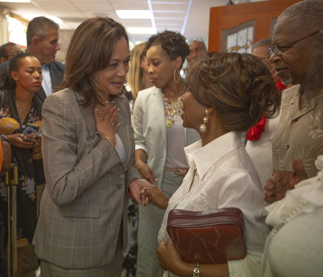Democratic presidential candidate andSen. Kamala Harris, D-Calif.,greets church att ...