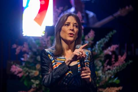 Democratic presidential candidate Marianne Williamson speaks to the congregation during a campa ...
