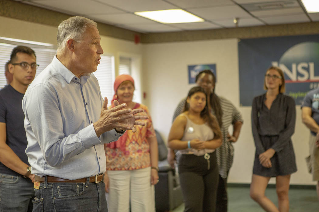 Democratic presidential candidate Washington Gov. Jay Inslee, gives a speech during his Las Veg ...