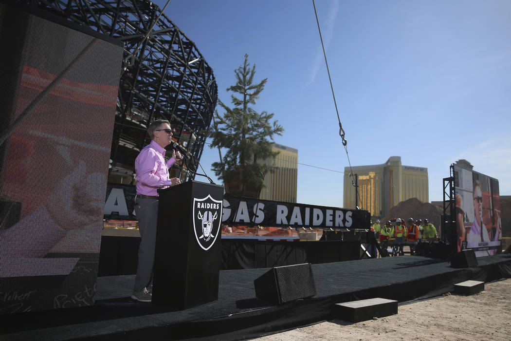Allegiant Chairman and CEO Maury Gallagher speaks during the Las Vegas Stadium Topping Out Cere ...