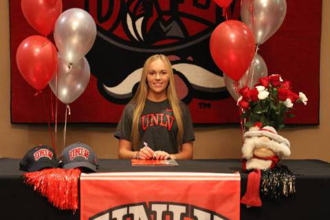 Rising UNLV women's golf sophomore Veronica Joels, shown here at her official signing day, is o ...
