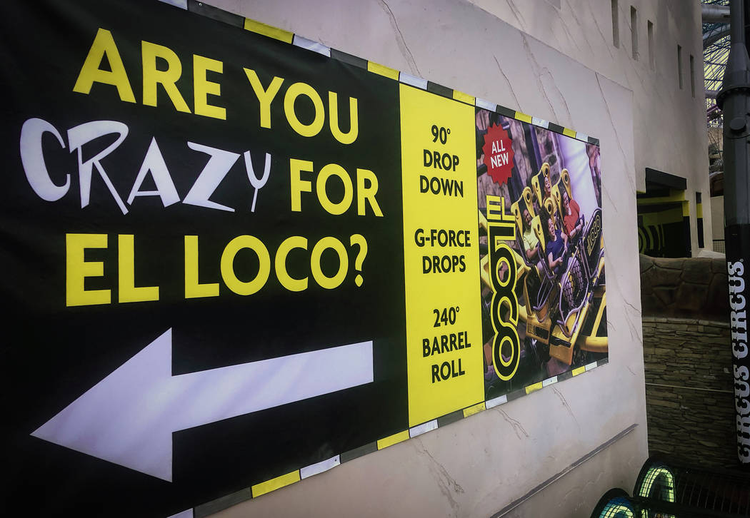 In this March 25, 2019, file photo, a banner of El Loco Roller Coaster is seen at Circus Circus ...