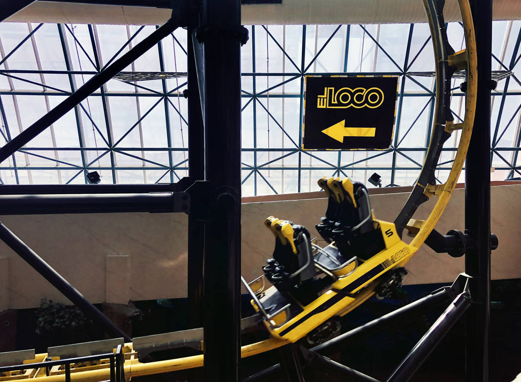 An empty car on The El Loco rollercoaster within the Circus Circus Adventuredome nears the fini ...