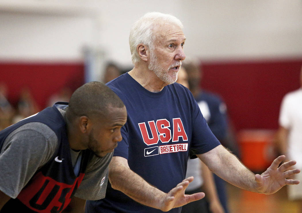 Coach Gregg Popovich of the San Antonio Spurs speaks to players during practice for the USA Men ...