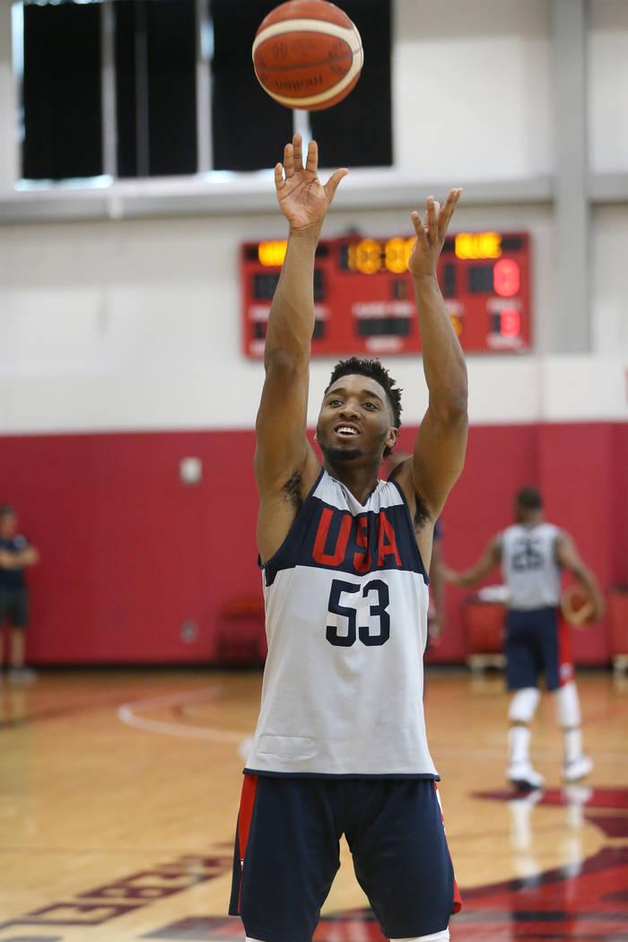 Utah Jazz guard Donovan Mitchell (53) shoots a free throw during the Team USA training camp at ...