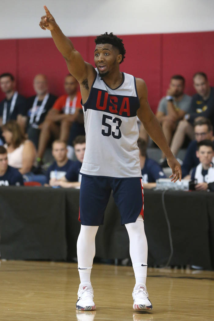 Utah Jazz guard Donovan Mitchell (53) gestures to a teammate during the Team USA training camp ...