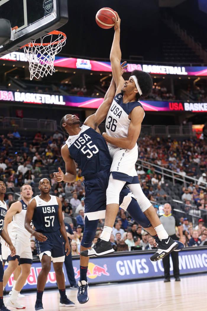 USA Men's National Team White forward Jarrett Allen (36) goes up for a dunk against USA Men's N ...
