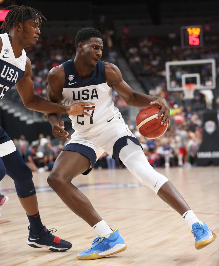 USA Men's National Team White forward Jaren Jackson Jr. (27) looks for an open play against USA ...