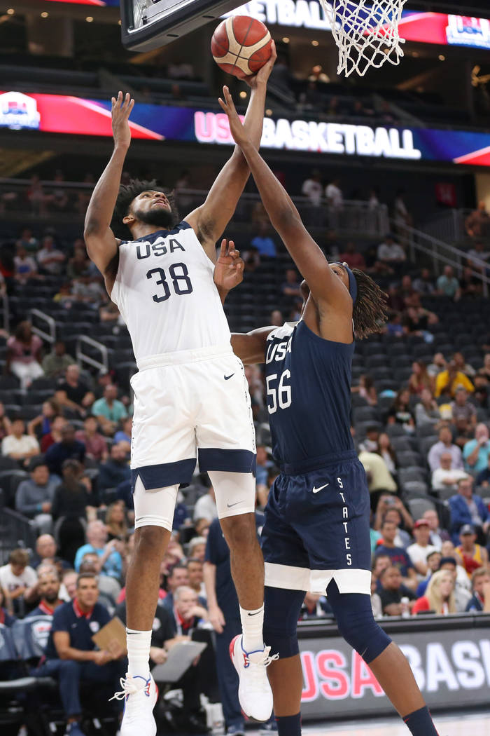 USA Men's National Team White forward Marvin Bagley III (38) goes up for a shot under pressure ...