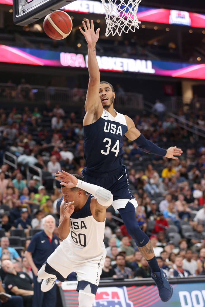 USA Men's National Team Blue forward Jayson Tatum (34) goes up for a shot as he is fouled by US ...