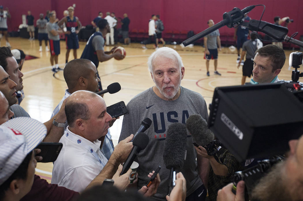 Head coach Gregg Popovich talks to members of the media at practice for the USA Basketball nati ...