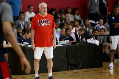 Head Coach Gregg Popovich watches over the USA Basketball national team practice at UNLV's Mend ...