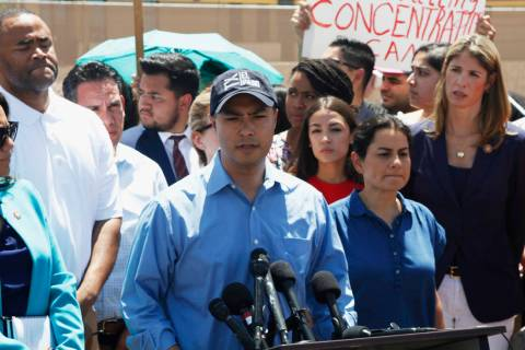 Rep. Joaquin Castro speaks alongside members of the Hispanic Caucus after touring inside of the ...