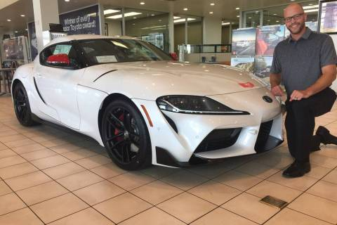 Findlay Automotive Group Operations Director Robby Findlay shows off the 2020 GR Supra at the d ...