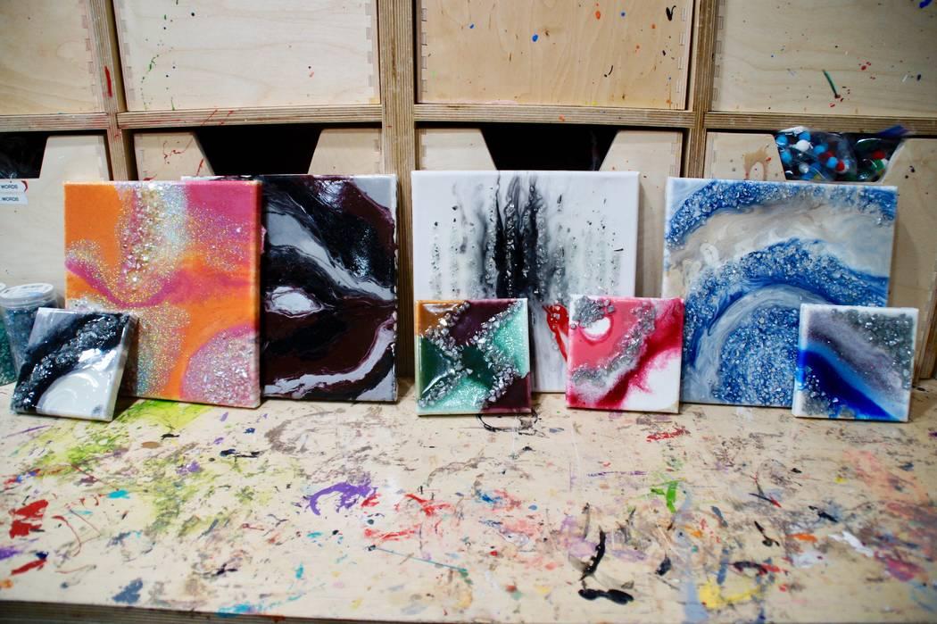 Art Nadler Your Home The finished resin geode artworks are on display at Corks 'N Crafts.