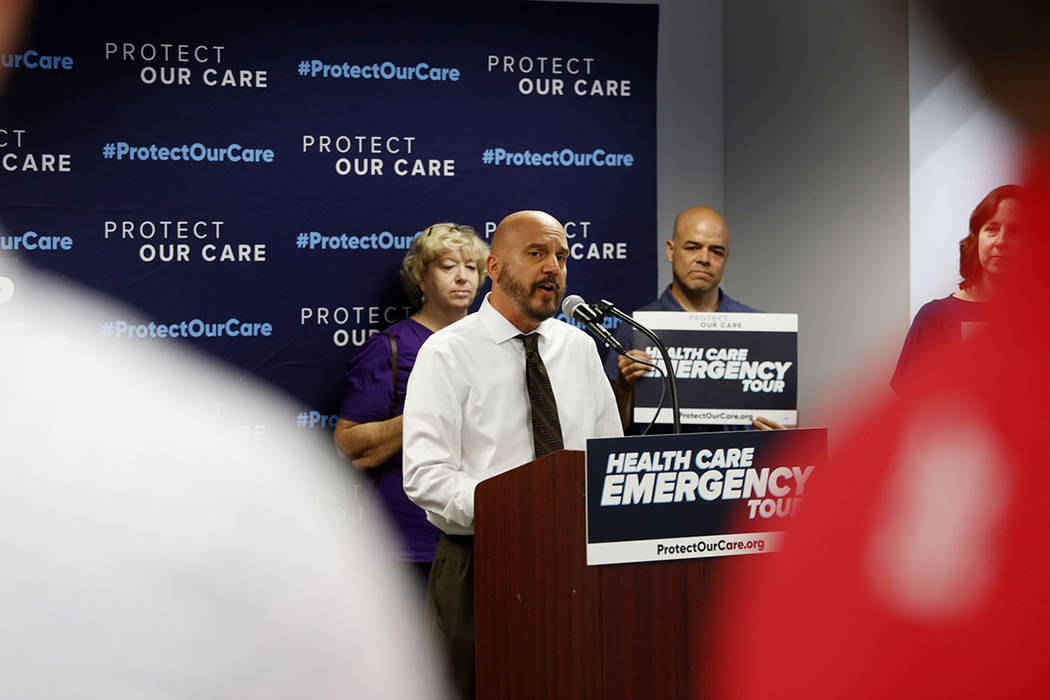 Cancer survivor and health care advocate Joe Merlino shares his story during the Protect Our Ca ...