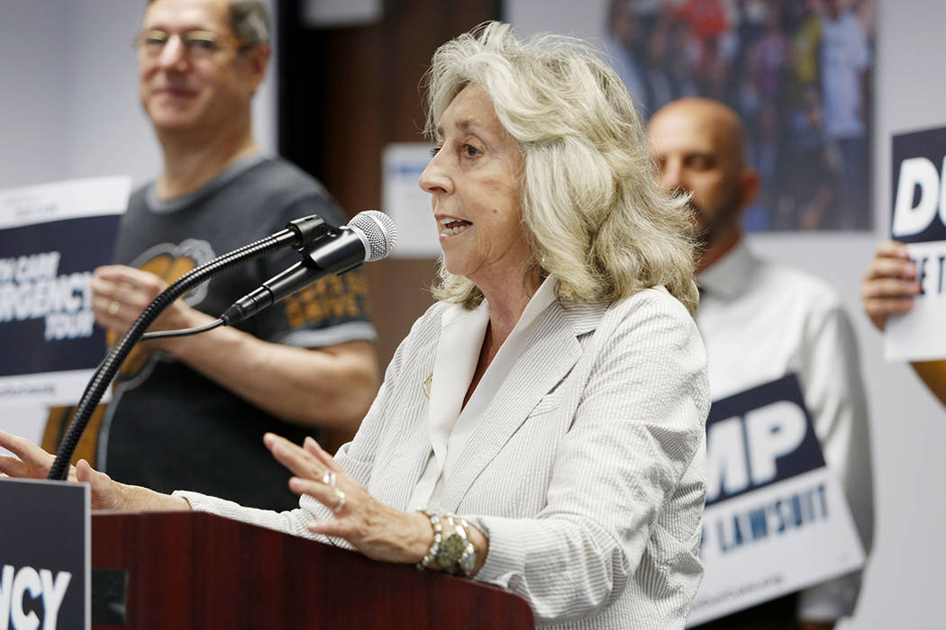 U.S. Rep. Dina Titus, D-Nev., speaks during the Protect Our Care's nationwide bus tour kick off ...