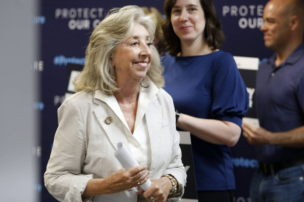 U.S. Rep. Dina Titus, D-Nev., during the Protect Our Care's nationwide bus tour kick off at the ...