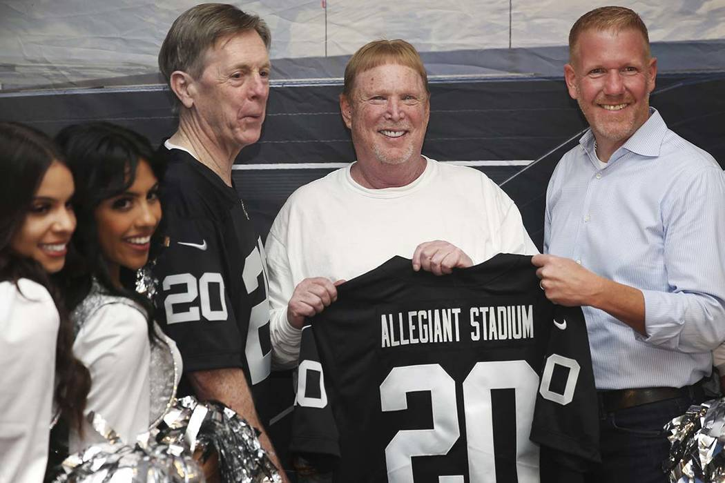 Allegiant's Chairman and CEO Maury Gallagher, left, Chief Marketing Officer Scott De Angelo, an ...