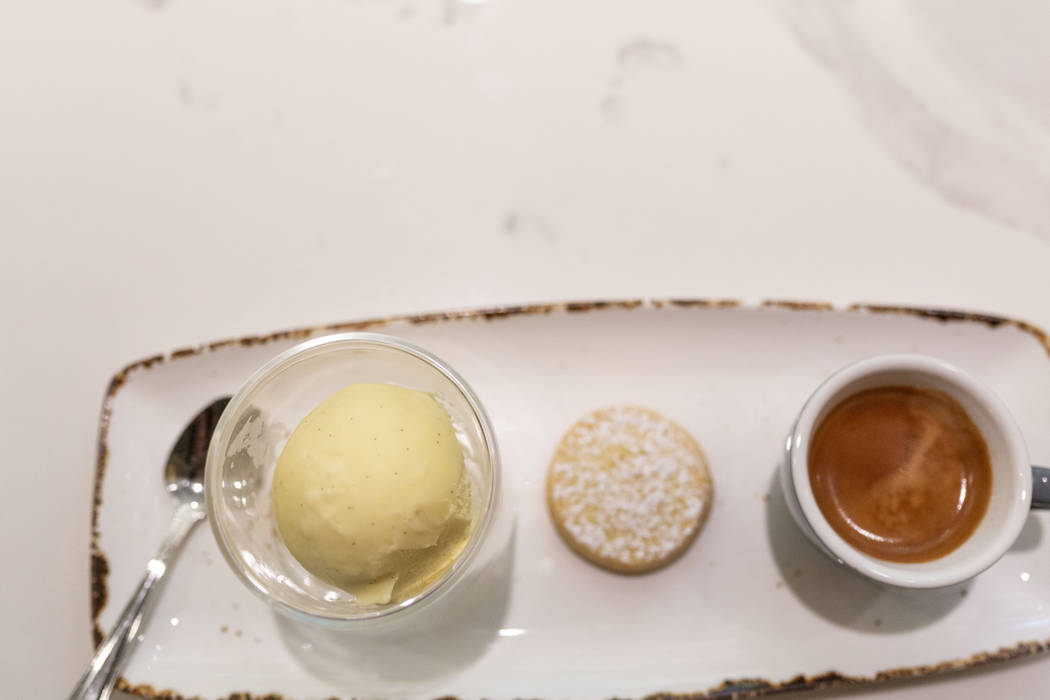 The Factory Kitchen's homemade ice cream made for their affogato at The Venetian, in Las Vegas ...