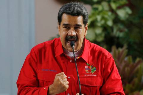Venezuela's President Nicolas Maduro speaks during the closing ceremony of the Sao Paulo Forum ...