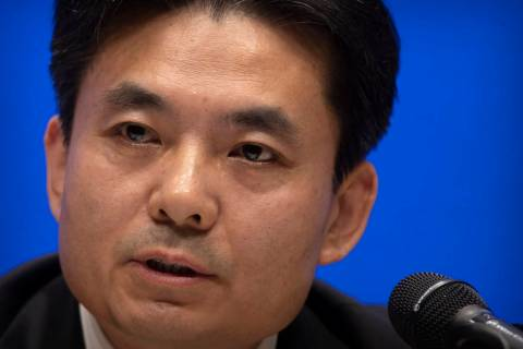 Yang Guang, spokesman for the Chinese Cabinet's Hong Kong and Macao Affairs Office, speaks duri ...