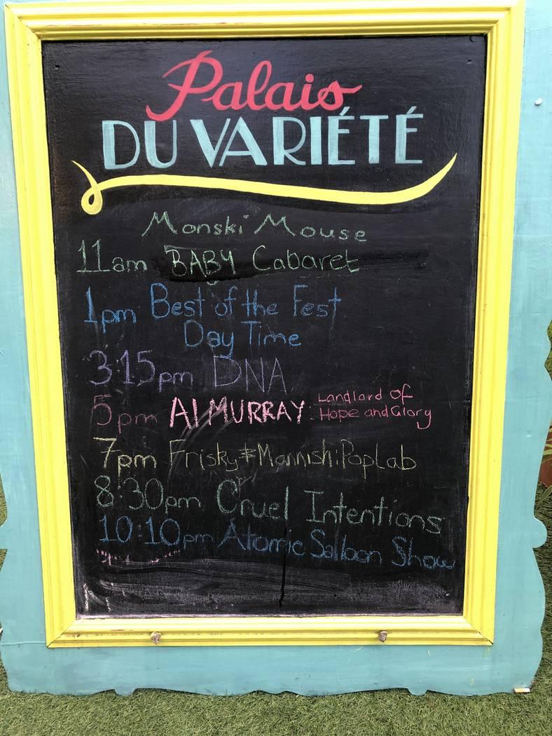 """The """"Atomic Saloon Show"""" schedule at Palais Du Variete (the current Spiegeltent) at Edinburgh F ..."""