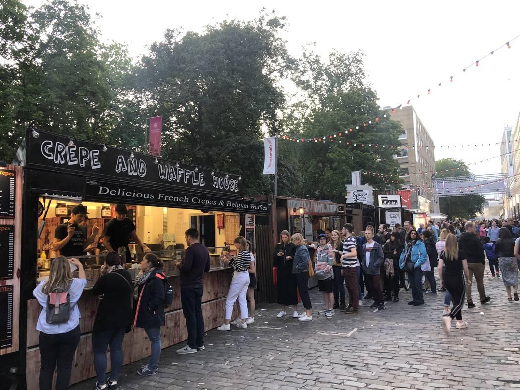Street vendors at Edinburgh Festival Fringe on Monday, Aug. 5, 2019. (John Katsilometes/Las Veg ...