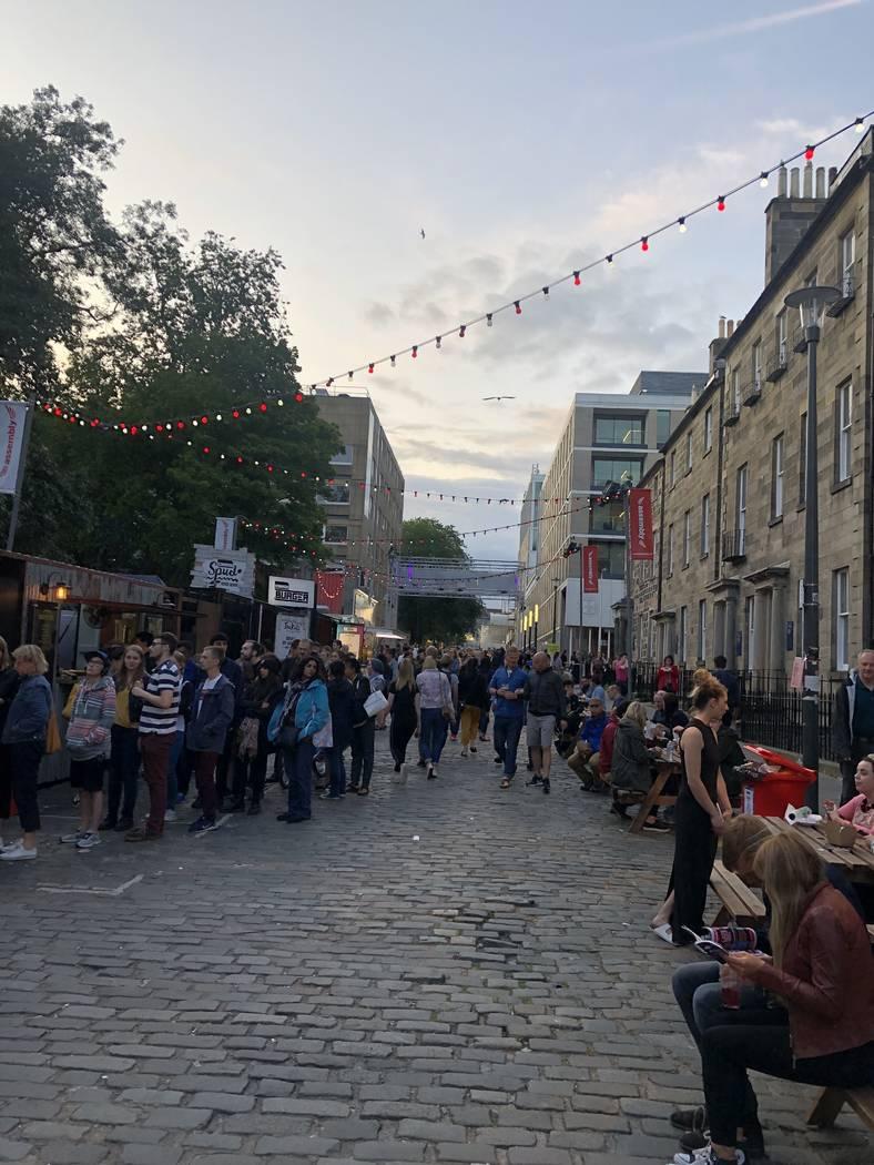 The cobblestone walkway leading into the Edinburgh Festival Fringe on Monday, Aug. 5, 2019. (Jo ...