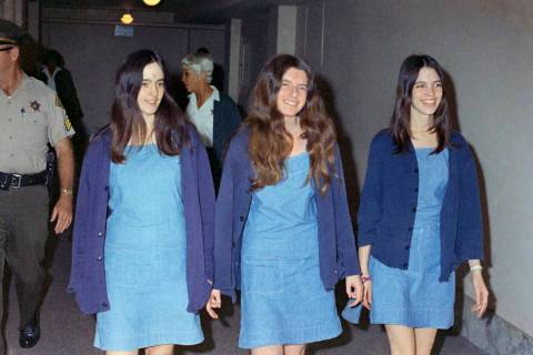 In an Aug. 20, 1970, file photo, Charles Manson followers, from left, Susan Atkins, Patricia Kr ...