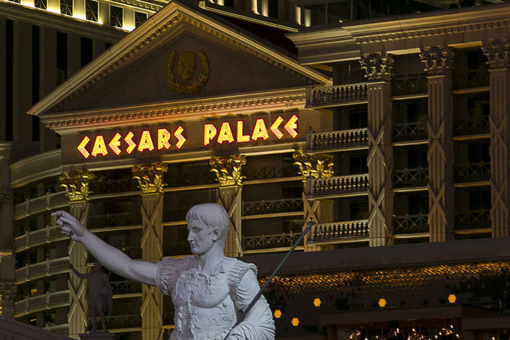 A marble replica of Augustus of Prima Porta stands at the Las Vegas Strip entrance of Caesars P ...