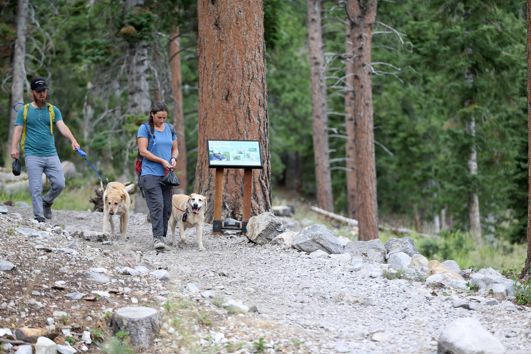 Ian Clark, left, with his wife Lisa, and their dogs Kirby and Kali, hike in Mt. Charleston, Tue ...