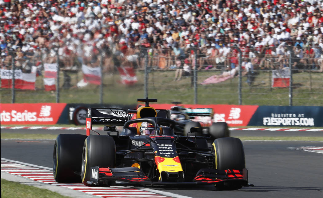 Red Bull driver Max Verstappen of the Netherlands steers his car during the Hungarian Formula O ...