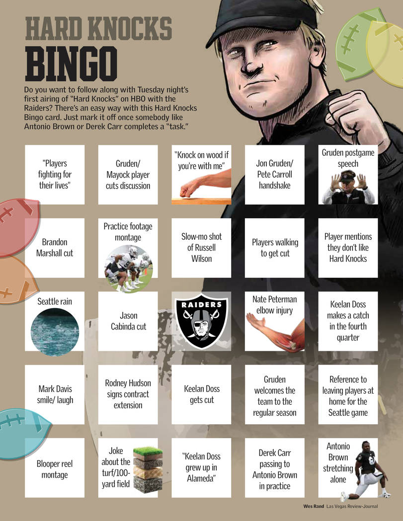 "Play BINGO as you watch HBO's ""Hard Knocks"" featuring the Raiders. (Wes Rand/Las Vegas Review-J ..."