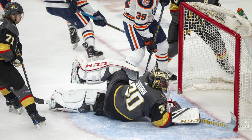 Vegas Golden Knights goaltender Malcolm Subban (30) makes another fine save over the Edmonton O ...