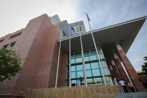 The Clark County Regional Justice Center in downtown Las Vegas is seen on Thursday, April 21, 2 ...