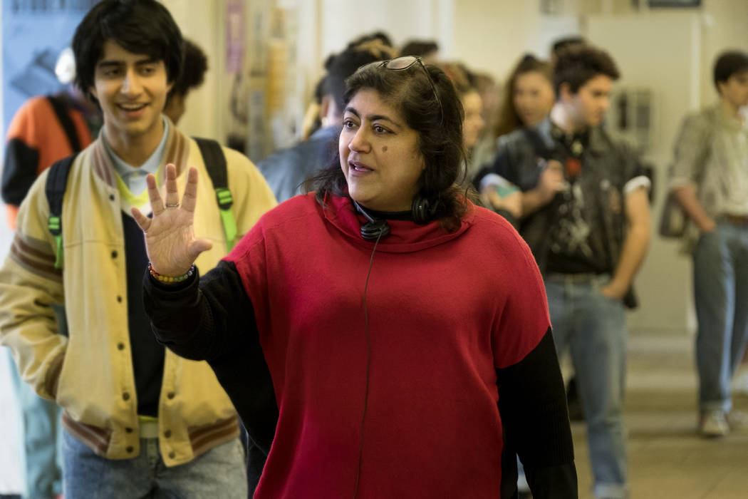 """Viveik Kalra, left, and director Gurinder Chadha on the set of """"Blinded by the Light."""" (Nick W ..."""