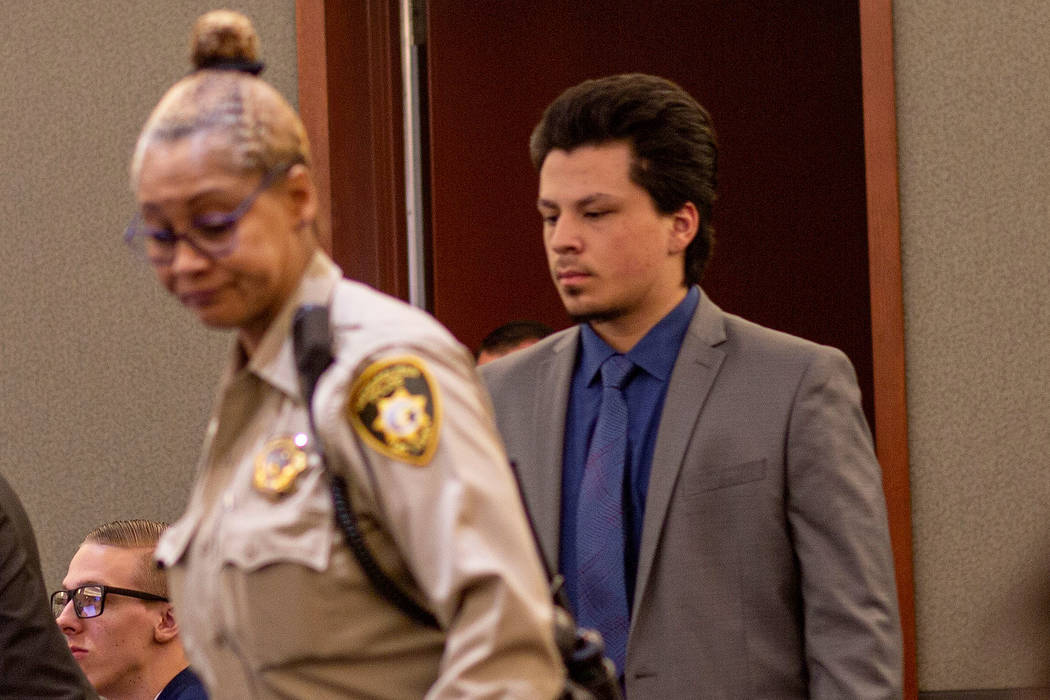 Jaiden Caruso enters the courtroom during a murder trial at the Regional Justice Center on Wedn ...