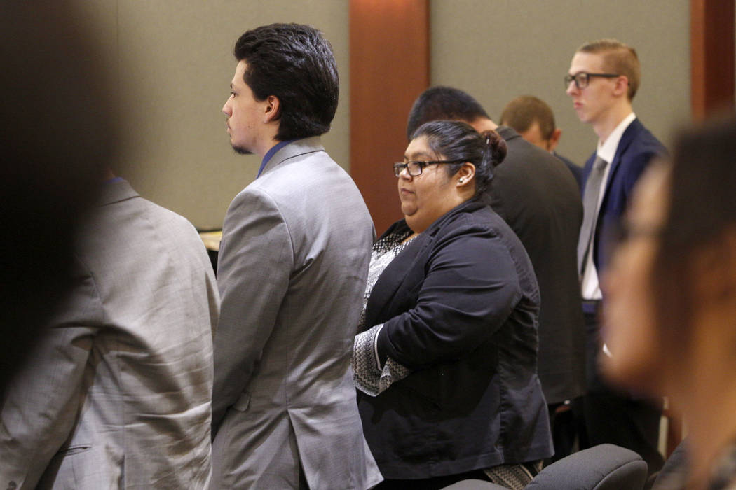 Jaiden Caruso, left, and Kody Harlan, far right, appear in court during their murder trial at t ...