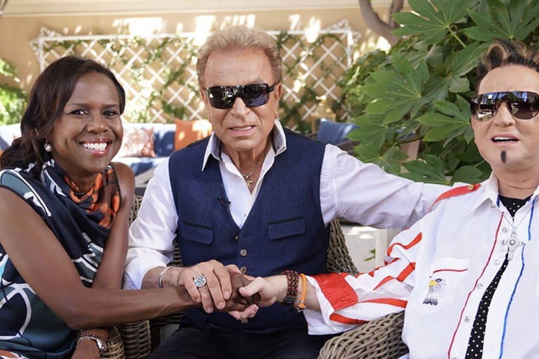 """Siegfried and Roy meet with """"Good Morning America's"""" Deborah Roberts at the Secret Garden at th ..."""